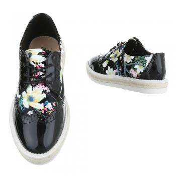 Черни лачени обувки с флорален принт
