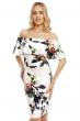 Флорална рокля с паднали рамене Beauty в бяло