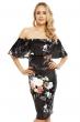 Флорална рокля с паднали рамене Beauty в черно