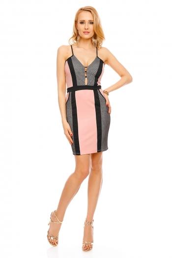 Вталяваща дамска рокля с мрежест десен Elite в розов цвят