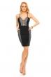 Вталяваща дамска рокля с мрежест десен Elite в черно