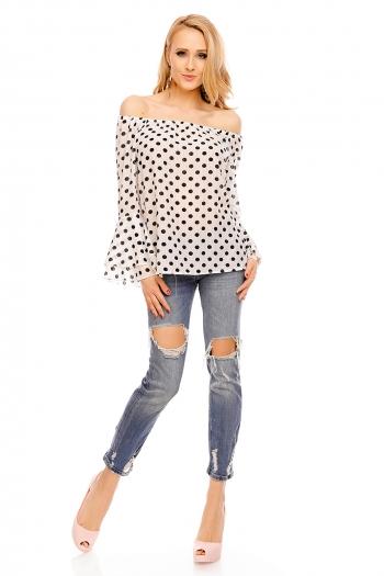 Блуза с голи рамене, точков десен и клош ръкав Blu Royal в бяло