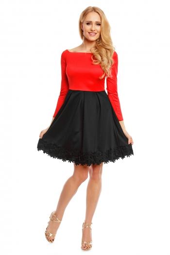 Двуцветна рокля с дълъг ръкав Mayadii в черно и червено