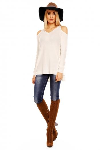 Пуловер с голи рамене Bisous Project в цвят крем
