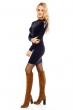 Рокля с дълъг ръкав и дантелено деколте Emma Ashley в тъмносин цвят