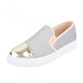 Спортно-елегантни дамски обувки златисто-розов брокат