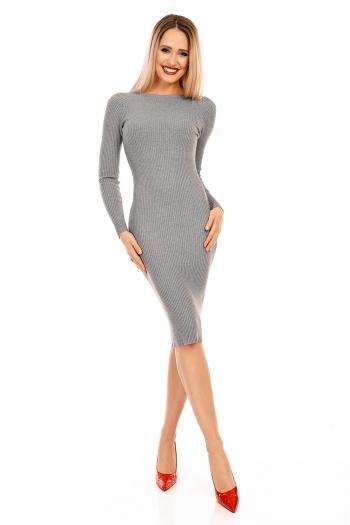 Рокля плетиво Nicole с гол гръб в сив цвят