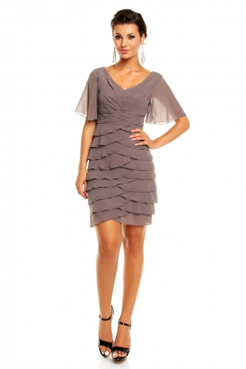 Многопластова шифонена рокля Mayaadi в сив цвят