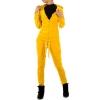 Спортен дамски екип в сияйно жълто - плюш