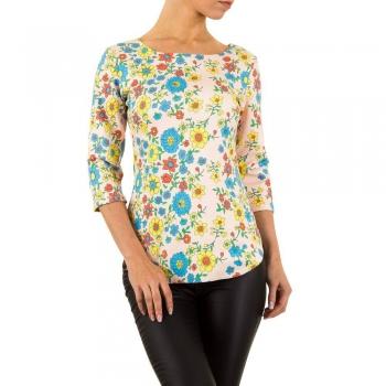 Дамска блуза с флорален десен KL в бледо розе