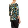 Дамска блуза с флорален десен KL в черно
