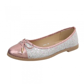 Балеринки Coura с панделка с блестящ ефект в розово и сребристо