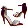 Дамски сандали във винено червено с кристали Jisicode