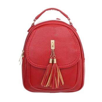 Дамска раница от еко кожа с пискюл в наситено червен цвят