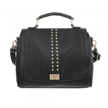 Дамска чанта с нежна декорация в черно