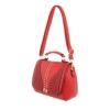 Дамска чанта с нежна декорация в червено