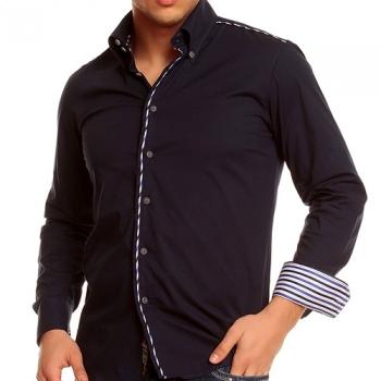 Официална синя риза с бод бял