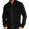 Официална черна риза с бод бял
