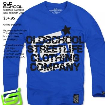 Интензивно синя блуза Old School
