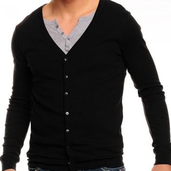 Черна памучна блуза монтаж
