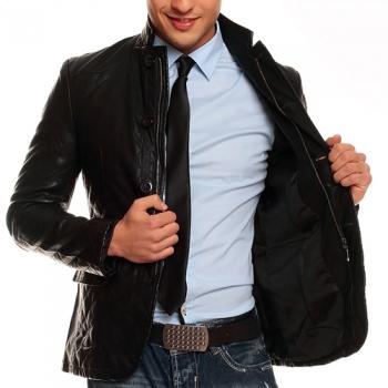 Черно вталено кожено сако Men In Black