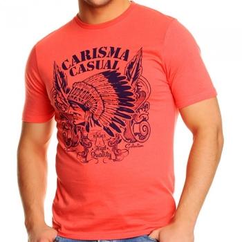 Ежедневна тениска в червено с тъмно син принт