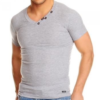 Сива тениска рипс с остро деколте