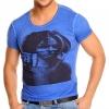 Синя тениска с тренди принт