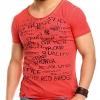 Тениска в сьомга червено с принт