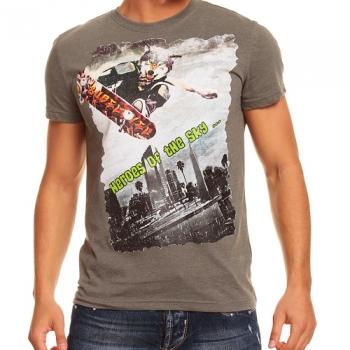 Тениска меланж с градски принт