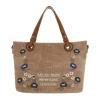 Текстилна дамска чанта с декорация в цвят каки