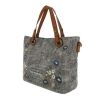 Текстилна дамска чанта с декорация сив меланж