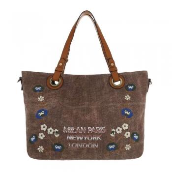 Текстилна дамска чанта с декорация в земен цвят