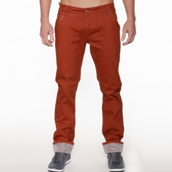 Кафяв памучен панталон с маншет каре