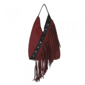 Дамска чанта с ресни в цвят бордо