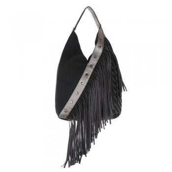 Дамска чанта с ресни в цвят черен