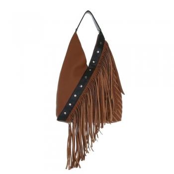 Дамска чанта с ресни в клаически кафяв цвят