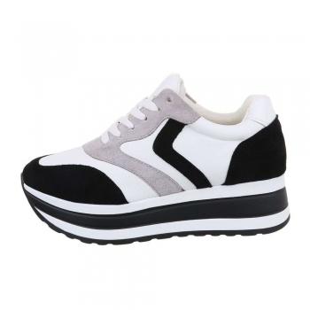 Спортни обувки с висока подметка в бяло и черно