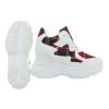 Ежедневни обувки в бяло с вътрешна платформа и акцент червено каре