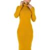 Ежедневна рокля по тялото Shk Paris - цвят горчица