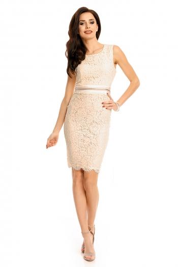 Дантелена рокля Mayaadi в блед бежов цвят
