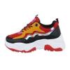 Спортни обувки в червено с обемиста подметка и металически елементи