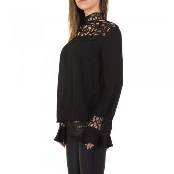 Дамска блуза в черно с декоративна дантела Emmash Paris