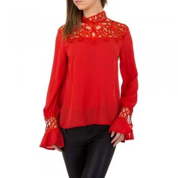 Дамска блуза в червено с декоративна дантела Emmash Paris