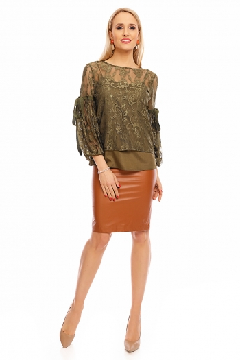 Елегантна дамска блуза Jayloucy в каки