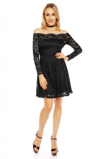 Разкроена дантелена рокля Mayaadi в черно