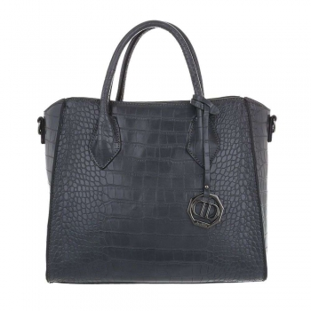 Crocodile texture чанта в тъмно сив цвят