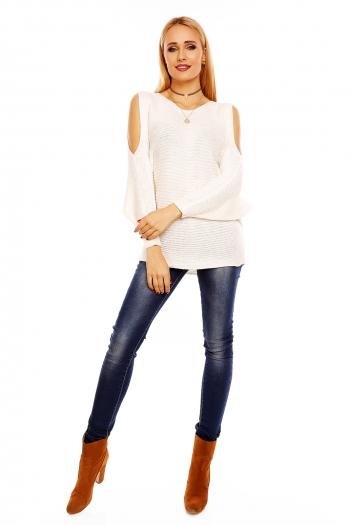 Ежедневен пуловер Bisous Project в бяло