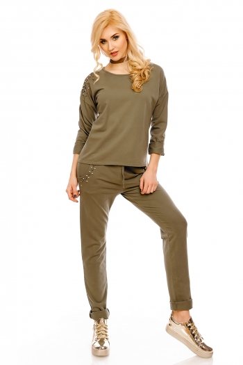 Блуза с нежна декорация Bonito в маслинено зелен цвят