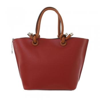 Ежедневна дамска чанта с преплетени дръжки в керемидено червен цвят